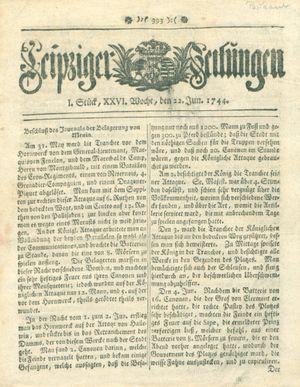Leipziger Zeitungen vom 22.06.1744