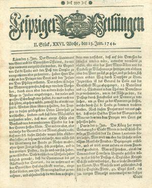 Leipziger Zeitungen vom 23.06.1744