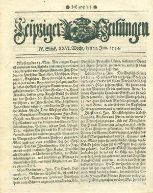 Leipziger Zeitungen vom 25.06.1744