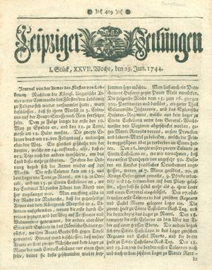 Leipziger Zeitungen vom 29.06.1744