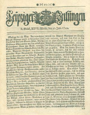 Leipziger Zeitungen vom 30.06.1744