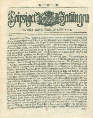 Leipziger Zeitungen vom 01.07.1744