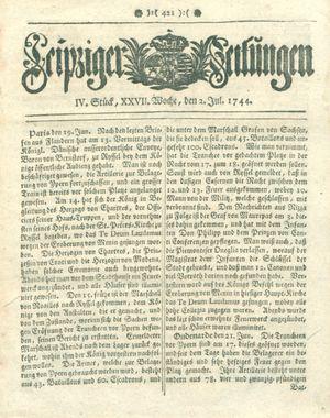 Leipziger Zeitungen vom 02.07.1744