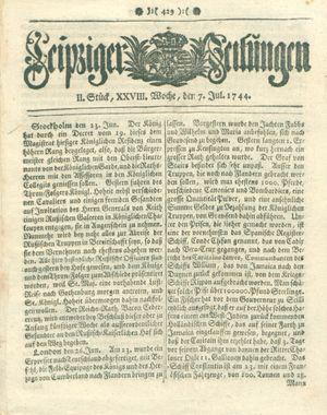 Leipziger Zeitungen vom 07.07.1744