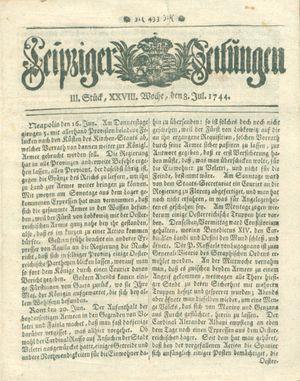 Leipziger Zeitungen vom 08.07.1744