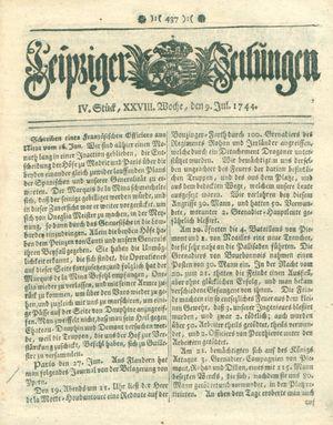 Leipziger Zeitungen vom 09.07.1744