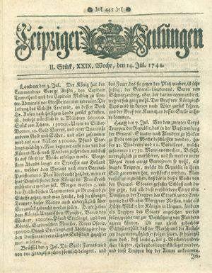 Leipziger Zeitungen vom 14.07.1744
