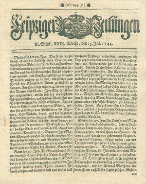 Leipziger Zeitungen vom 15.07.1744