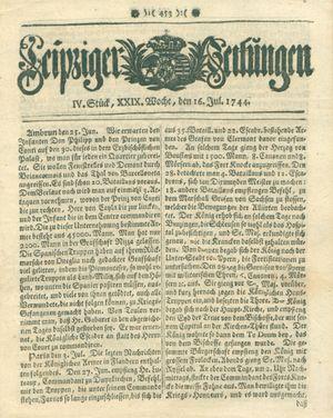 Leipziger Zeitungen vom 16.07.1744
