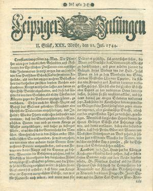 Leipziger Zeitungen vom 21.07.1744