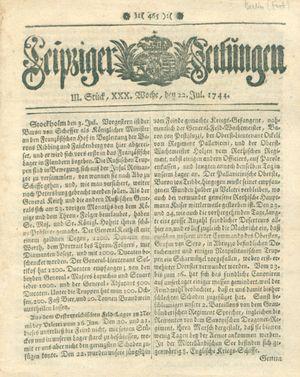Leipziger Zeitungen vom 22.07.1744