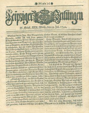 Leipziger Zeitungen vom 23.07.1744