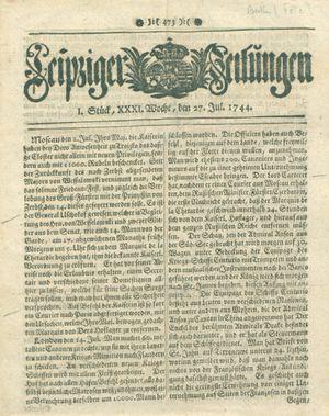 Leipziger Zeitungen vom 27.07.1744