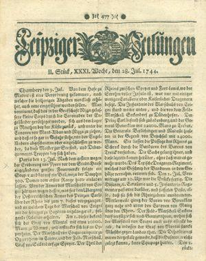 Leipziger Zeitungen vom 28.07.1744