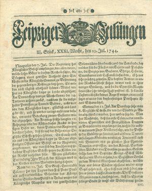 Leipziger Zeitungen vom 29.07.1744