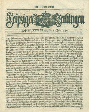Leipziger Zeitungen vom 30.07.1744