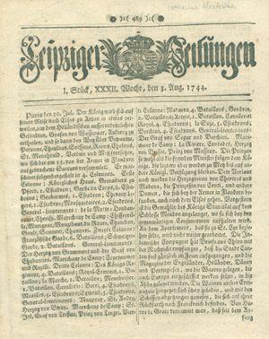 Leipziger Zeitungen vom 03.08.1744