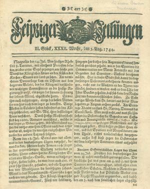 Leipziger Zeitungen vom 05.08.1744