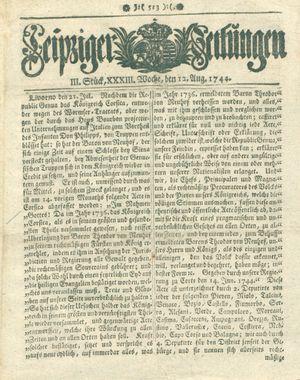 Leipziger Zeitungen vom 12.08.1744