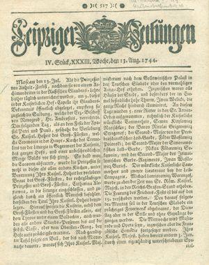 Leipziger Zeitungen on Aug 13, 1744