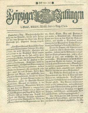 Leipziger Zeitungen vom 17.08.1744