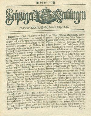 Leipziger Zeitungen vom 18.08.1744