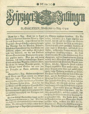Leipziger Zeitungen vom 19.08.1744