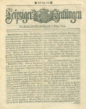 Leipziger Zeitungen vom 20.08.1744