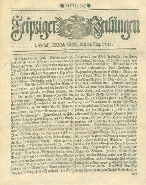 Leipziger Zeitungen vom 24.08.1744
