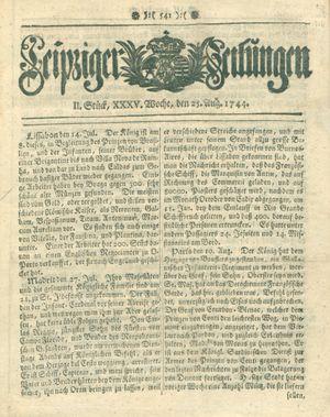 Leipziger Zeitungen vom 25.08.1744