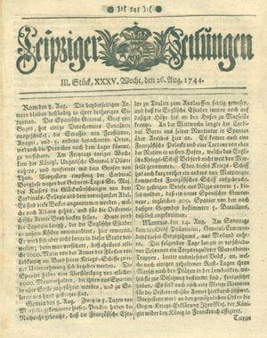Leipziger Zeitungen vom 26.08.1744