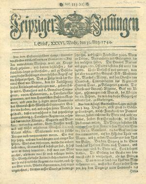 Leipziger Zeitungen vom 31.08.1744