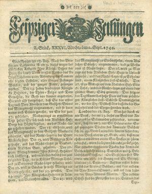 Leipziger Zeitungen vom 01.09.1744