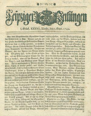Leipziger Zeitungen vom 07.09.1744