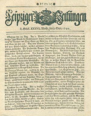 Leipziger Zeitungen vom 08.09.1744