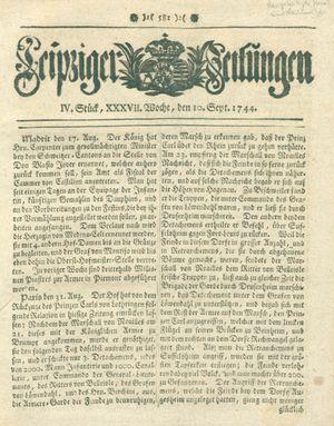 Leipziger Zeitungen vom 10.09.1744
