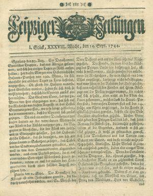 Leipziger Zeitungen vom 14.09.1744