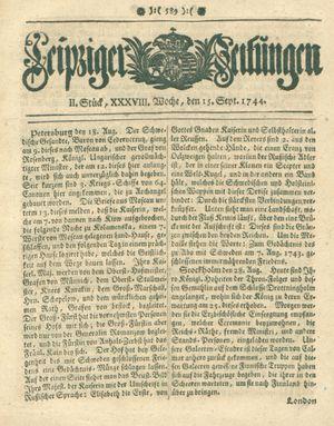 Leipziger Zeitungen vom 15.09.1744