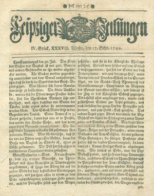 Leipziger Zeitungen vom 17.09.1744