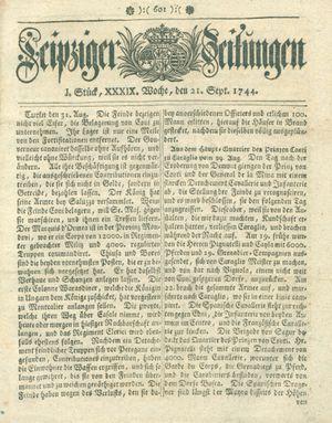 Leipziger Zeitungen vom 21.09.1744