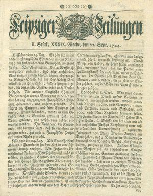Leipziger Zeitungen vom 22.09.1744