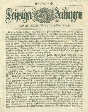 Leipziger Zeitungen vom 24.09.1744