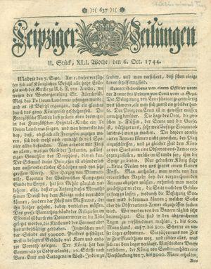 Leipziger Zeitungen vom 06.10.1744