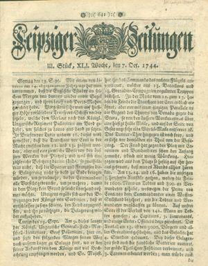 Leipziger Zeitungen vom 07.10.1744