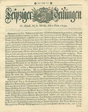 Leipziger Zeitungen vom 05.11.1744
