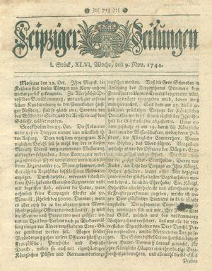 Leipziger Zeitungen vom 09.11.1744