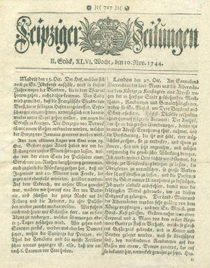 Leipziger Zeitungen vom 10.11.1744