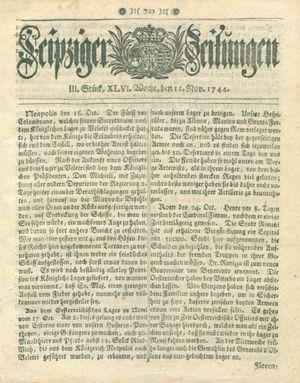Leipziger Zeitungen vom 11.11.1744