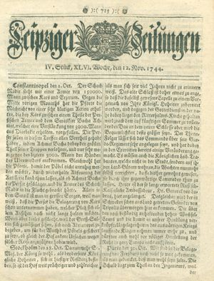 Leipziger Zeitungen vom 12.11.1744