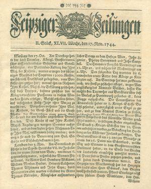 Leipziger Zeitungen vom 17.11.1744